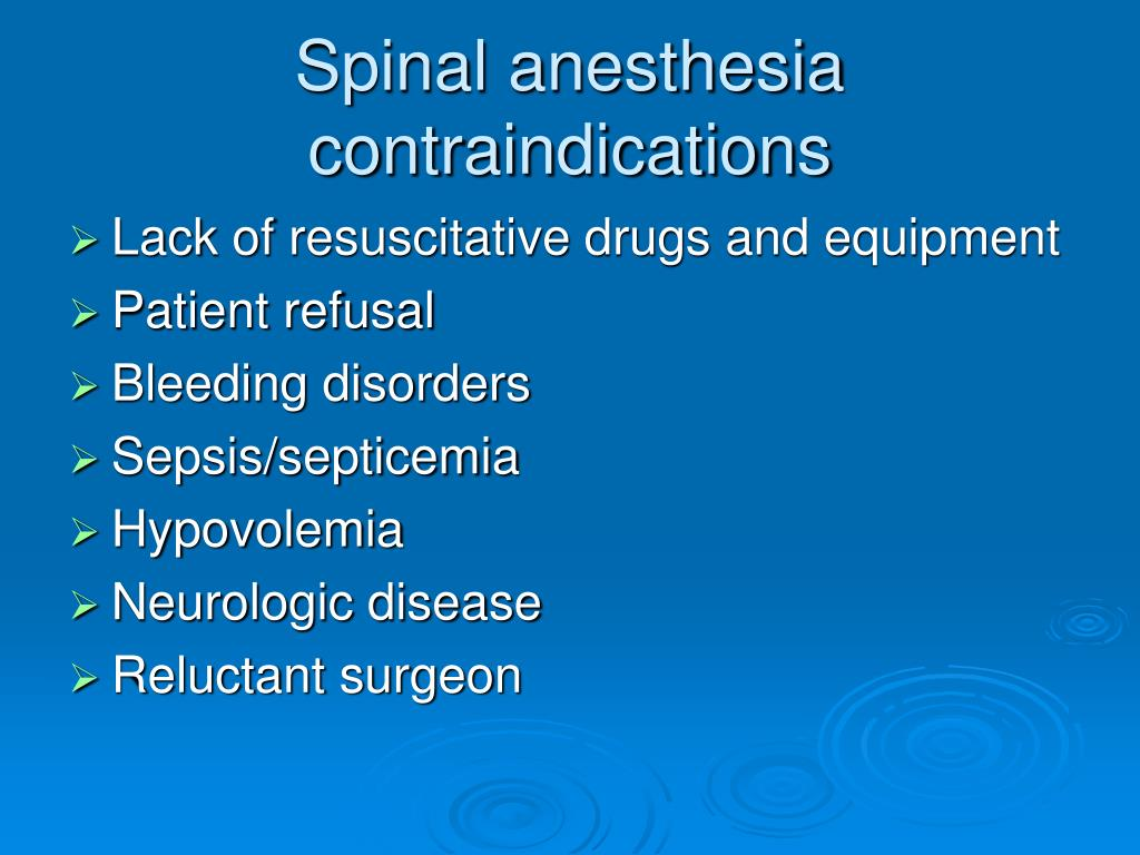Spinal anesthesia contraindications