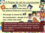 a prayer for all my countrymen the title