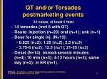 qt and or torsades postmarketing events
