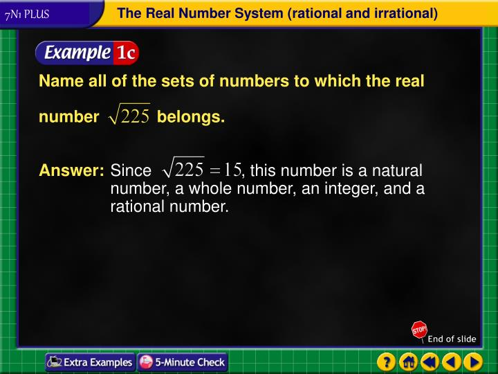 Name all of the sets of numbers to which the real