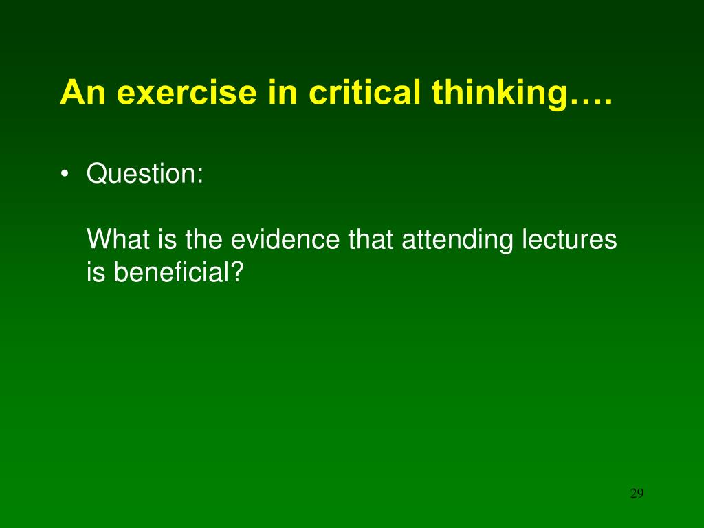 An exercise in critical thinking….