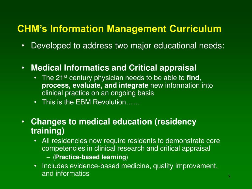 CHM's Information Management Curriculum