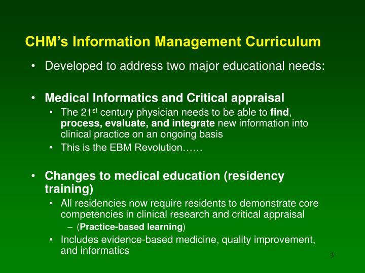 Chm s information management curriculum