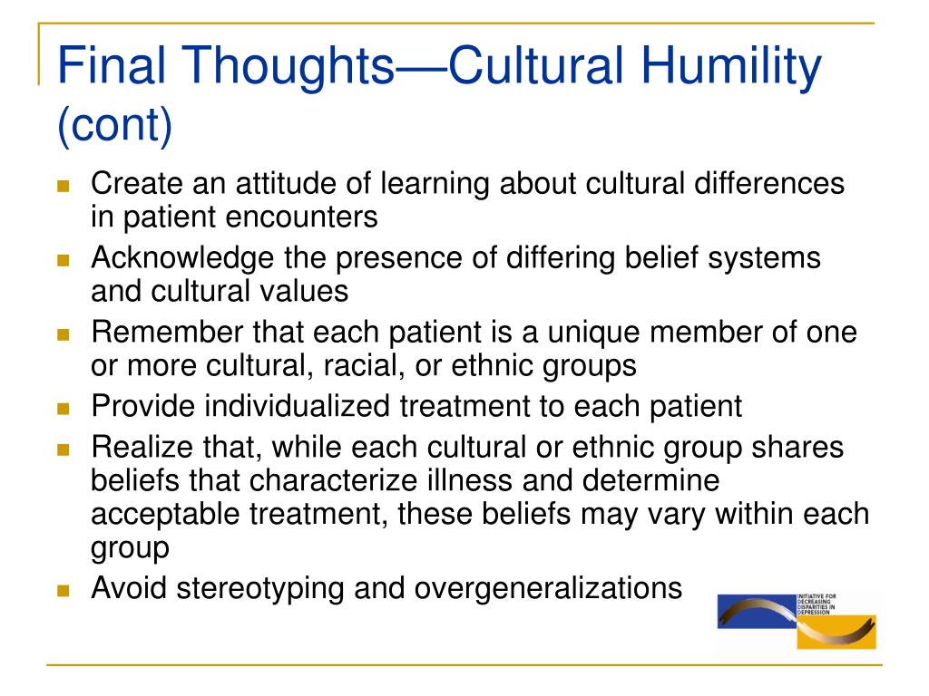 Final Thoughts—Cultural Humility