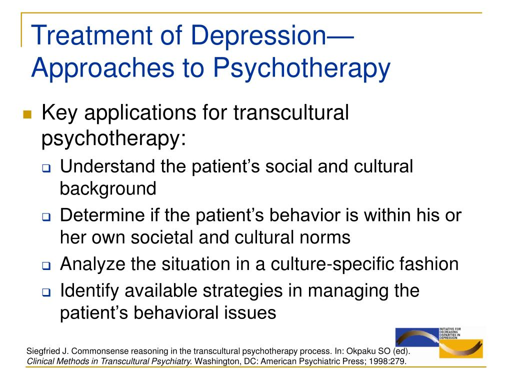 Treatment of Depression—Approaches to Psychotherapy
