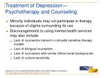 treatment of depression psychotherapy and counseling