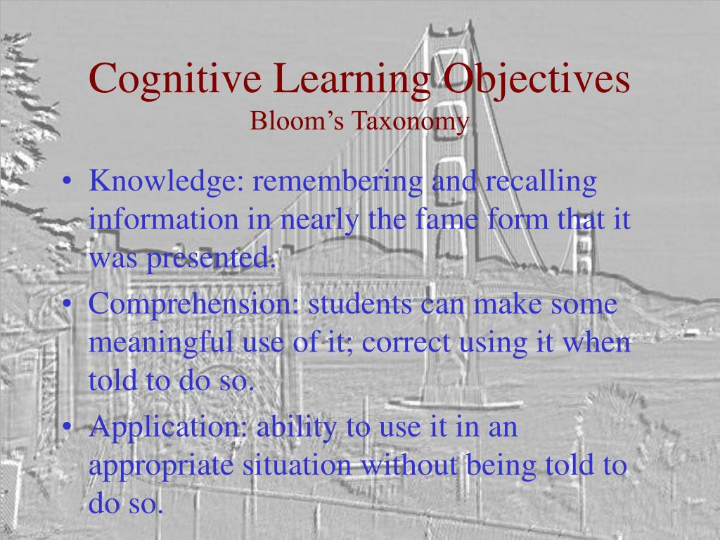 Cognitive Learning Objectives