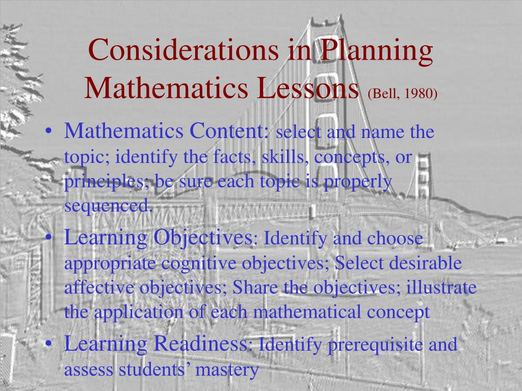 Considerations in Planning Mathematics Lessons