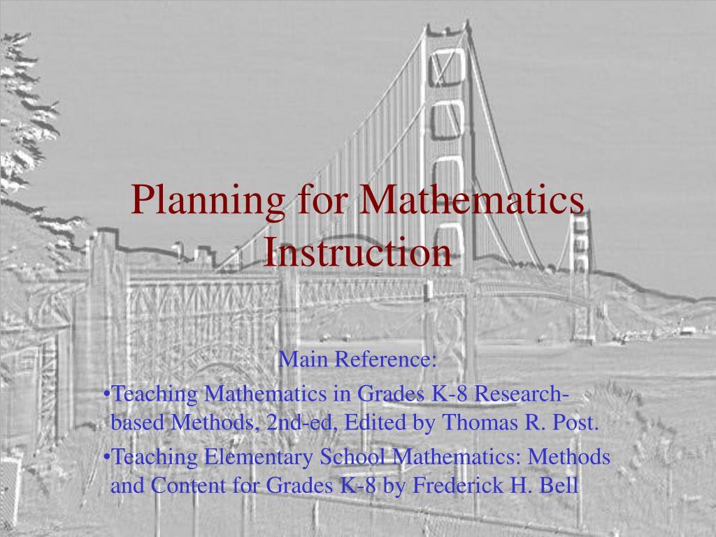planning for mathematics instruction l.