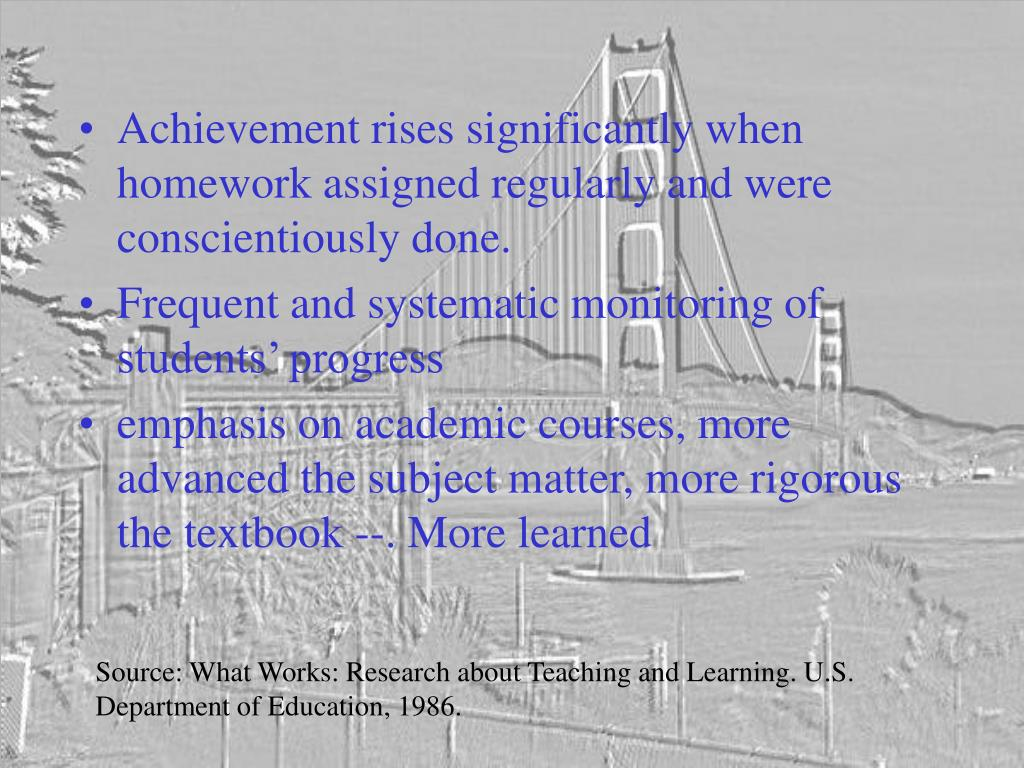 Achievement rises significantly when homework assigned regularly and were conscientiously done.