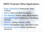 nws forecast office applications