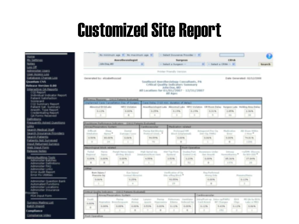 Customized Site Report