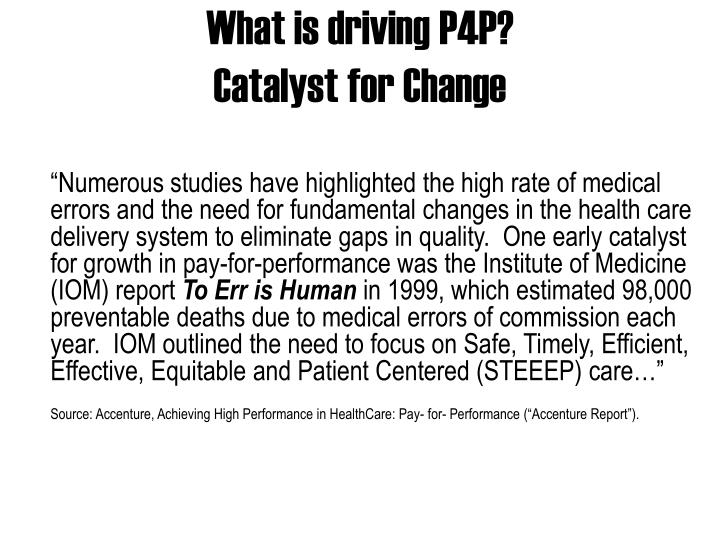What is driving p4p catalyst for change