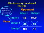 eliminate any d ominated strategy
