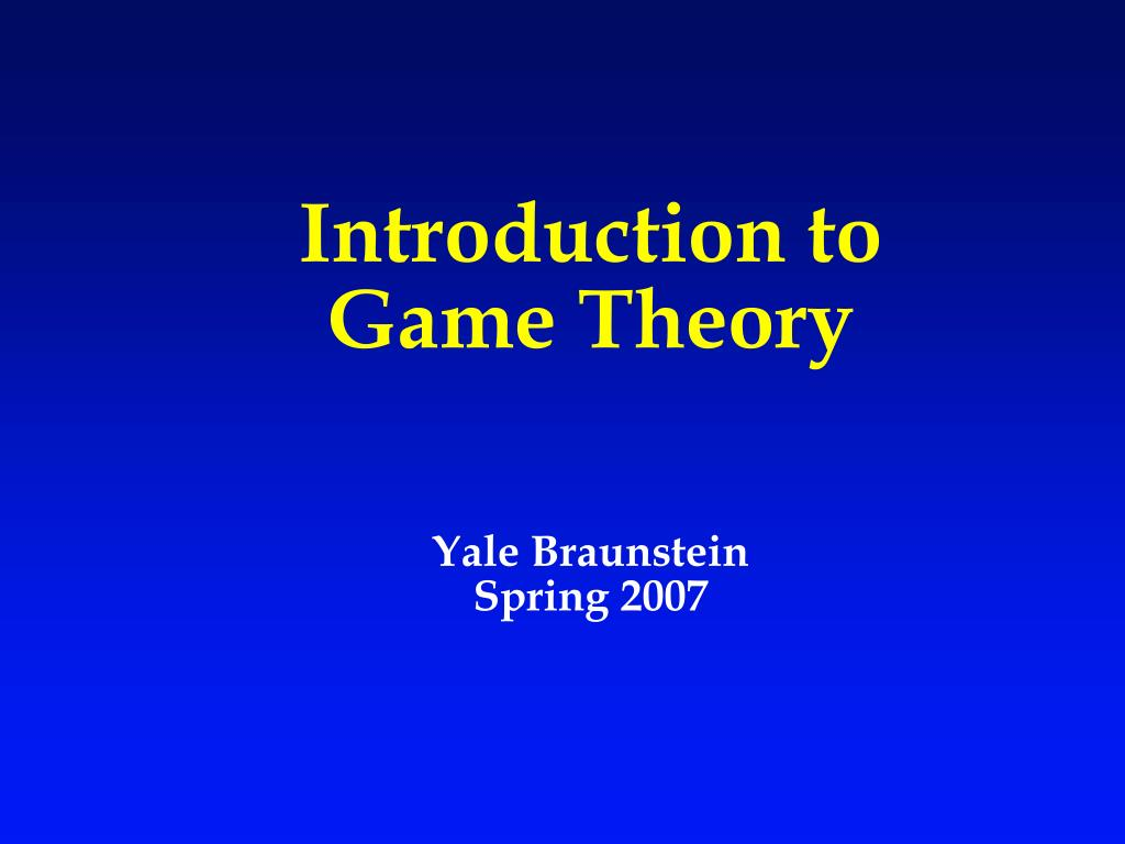 introduction to game theory l.