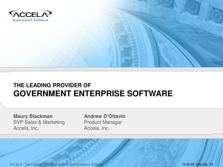 the leading provider of government enterprise software n.