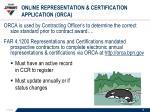 online representation certification application orca