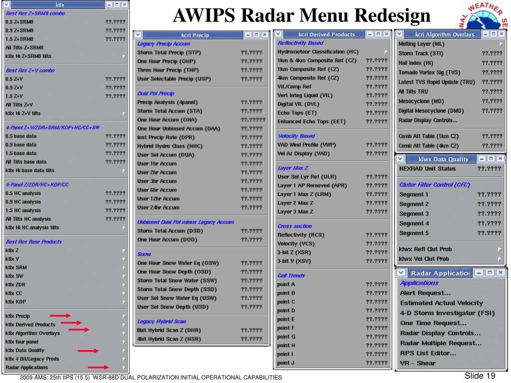 AWIPS Radar Menu Redesign