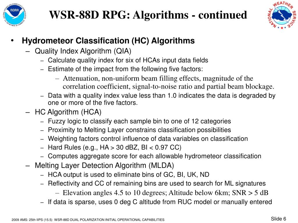 WSR-88D RPG: Algorithms - continued