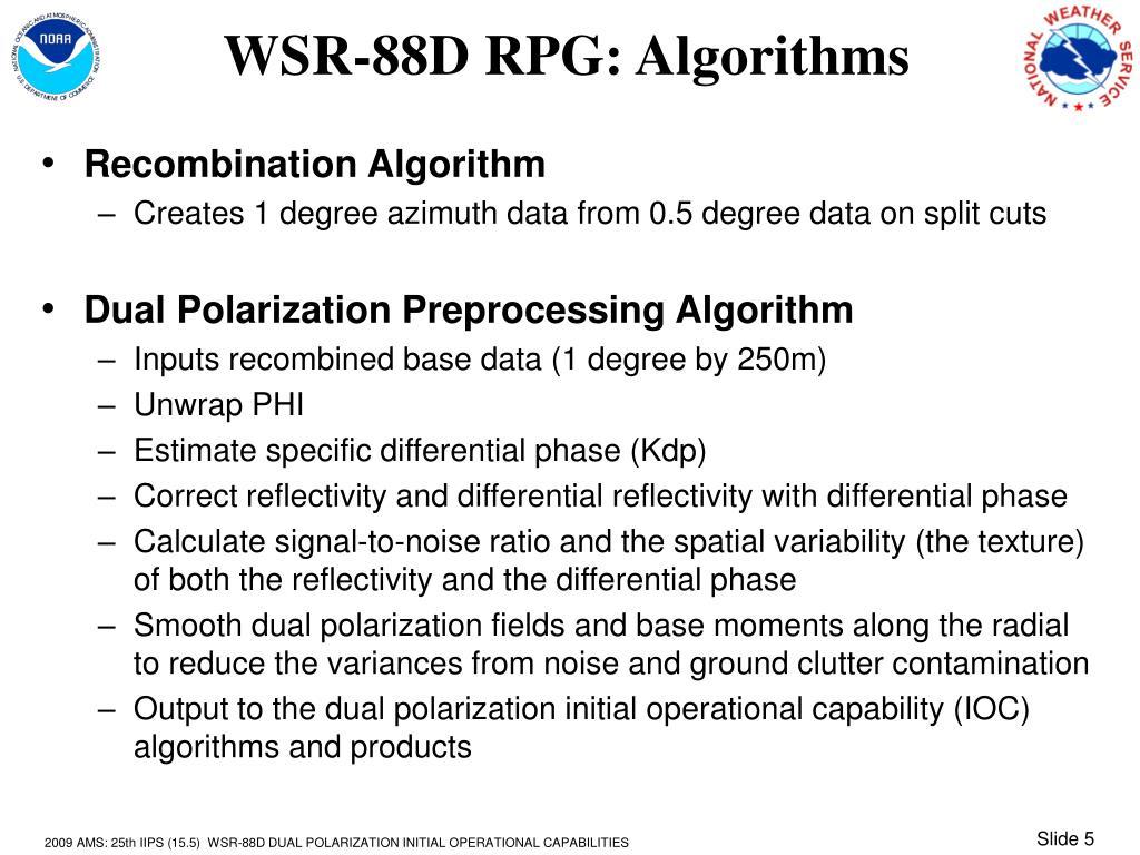 WSR-88D RPG: Algorithms