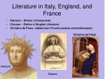 literature in italy england and france