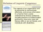 definition of linguistic competence