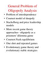 general problem of oligopoly analysis