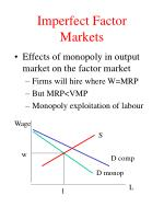 imperfect factor markets