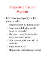imperfect factor markets1