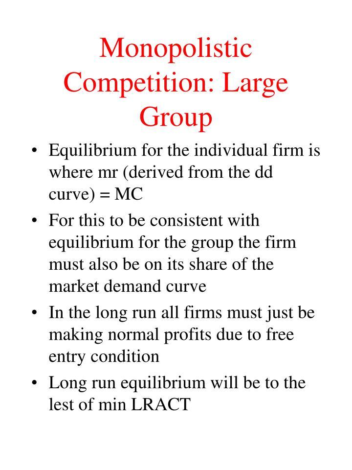 Monopolistic Competition: Large Group