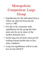monopolistic competition large group