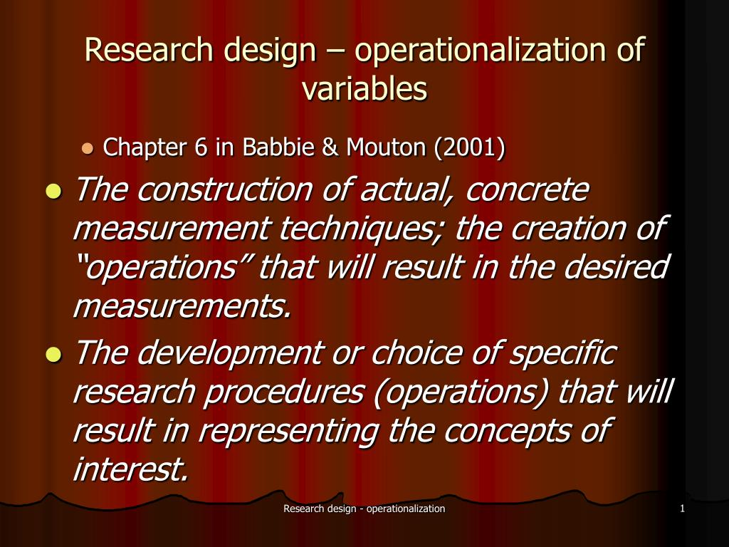 research design operationalization of variables l.