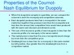 properties of the cournot nash equilibrium for duopoly
