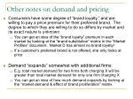 other notes on demand and pricing