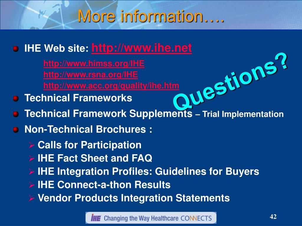 IHE Web site: