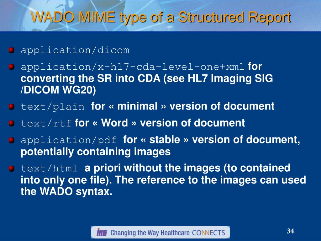 WADO MIME type of a Structured Report
