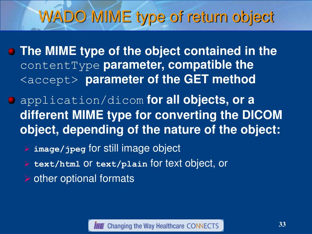 WADO MIME type of return object