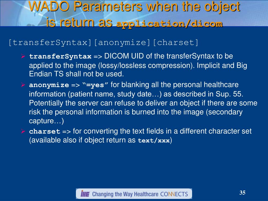 WADO Parameters when the object is return as