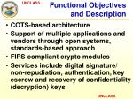 functional objectives and description