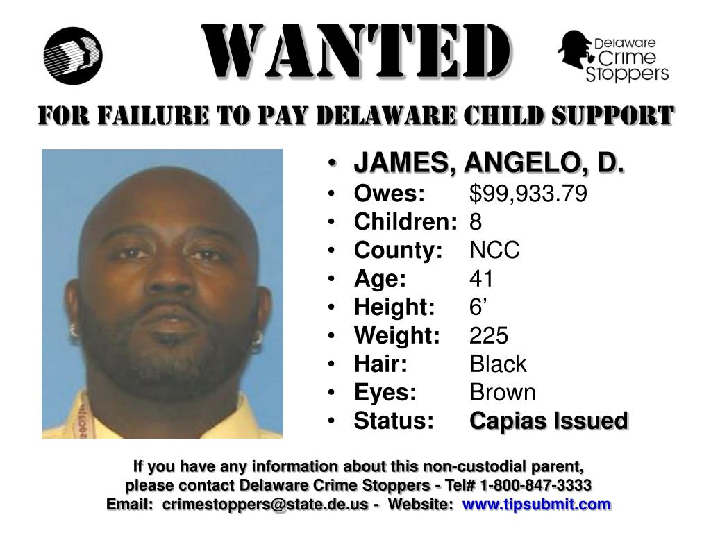 wanted for failure to pay delaware child support l.