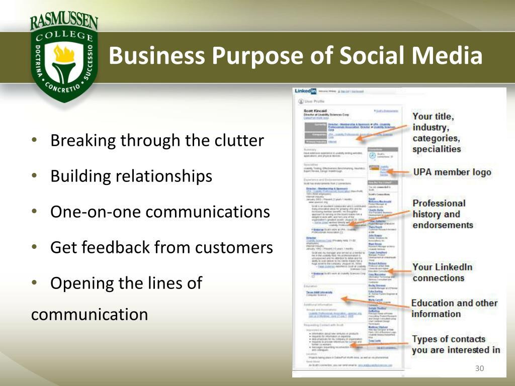 Business Purpose of Social Media