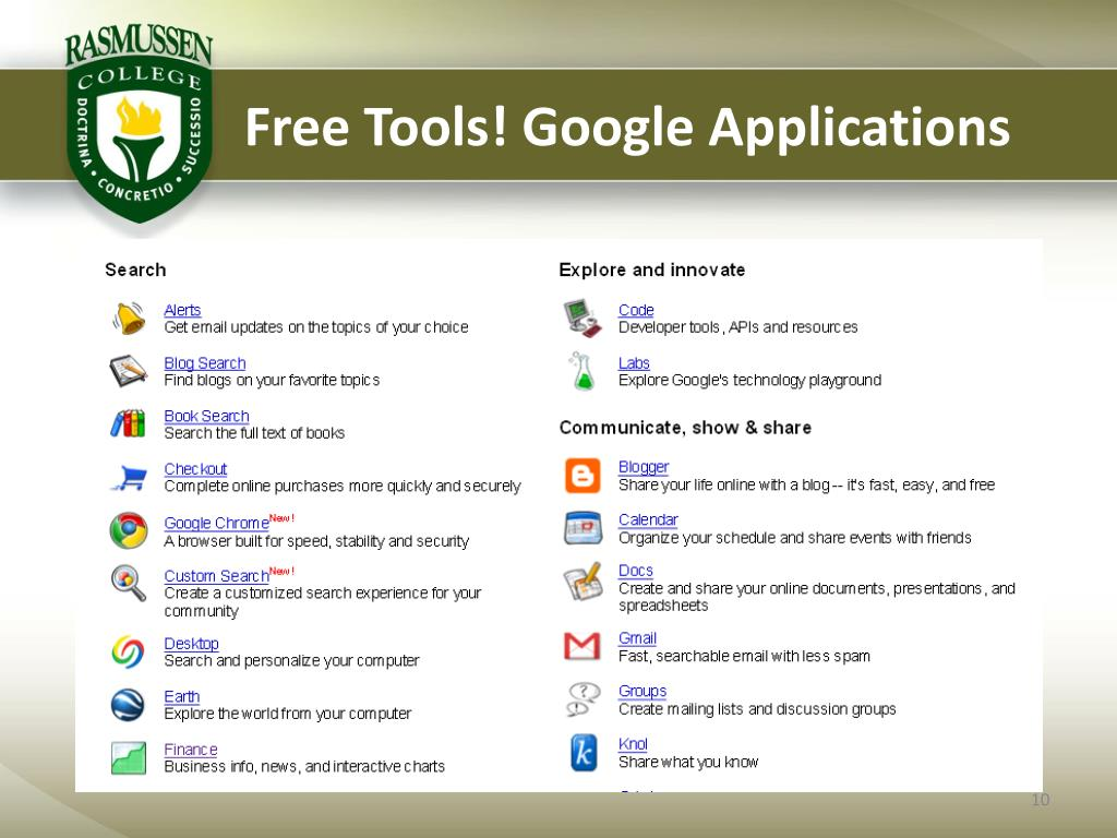 Free Tools! Google Applications