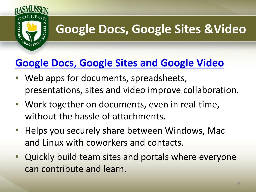 Google Docs, Google Sites &Video