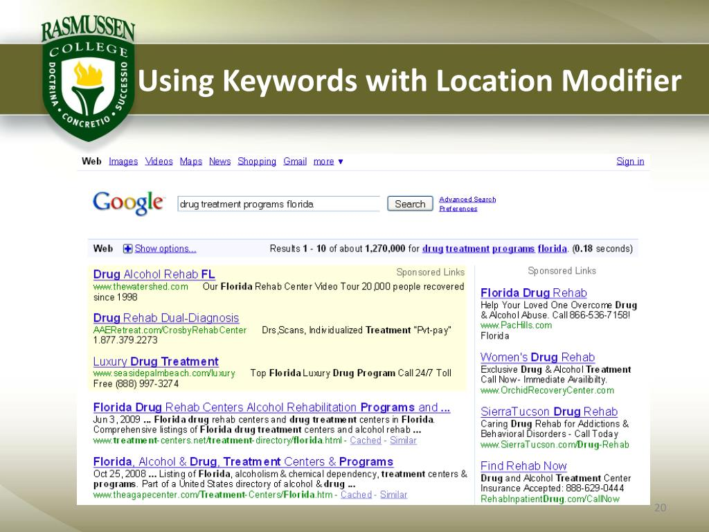 Using Keywords with Location Modifier