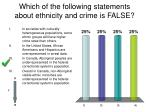 which of the following statements about ethnicity and crime is false