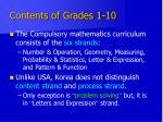 contents of grades 1 10