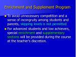 enrichment and supplement program