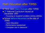 math education after timss