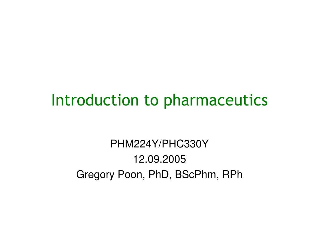introduction to pharmaceutics l.