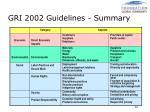 gri 2002 guidelines summary